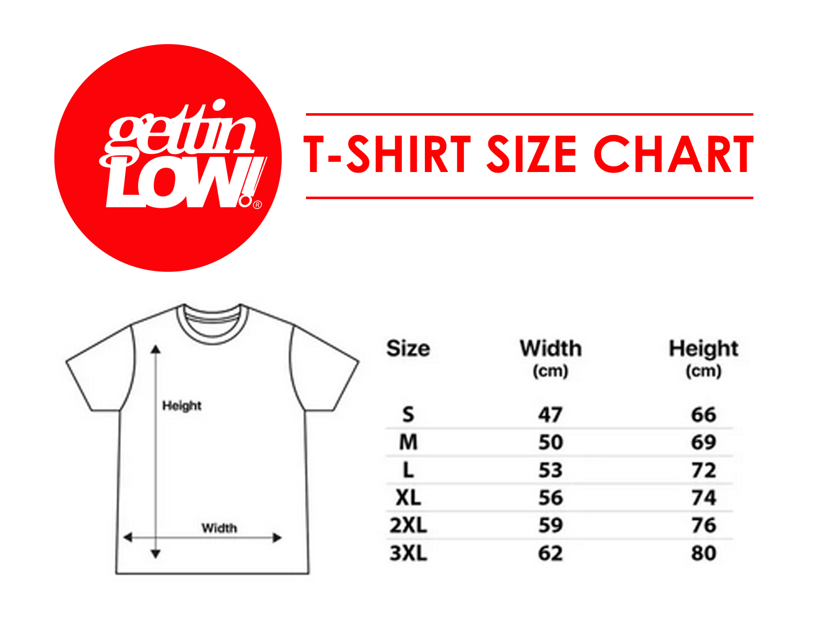gettinlow tshirt size chart